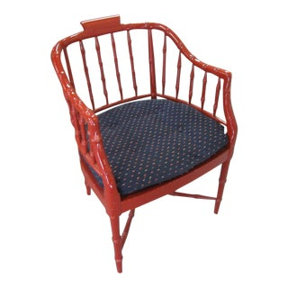 Faux Bamboo Occasional Chair For Sale