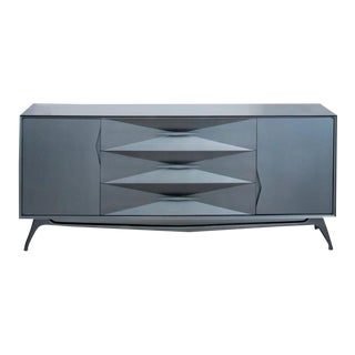 1960's Bedroom Set : Re-Imagined Steel Grey Metallic Lacquer 9-Drawer Dresser by Albe Fine Furniture