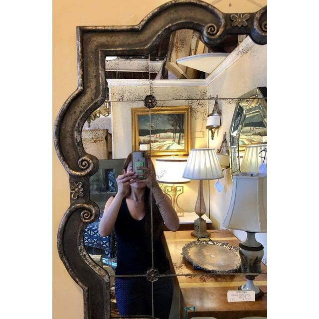 Hollywood Regency Style Wall Mirror Silver Overlay Decorated Midcentury For Sale - Image 4 of 11