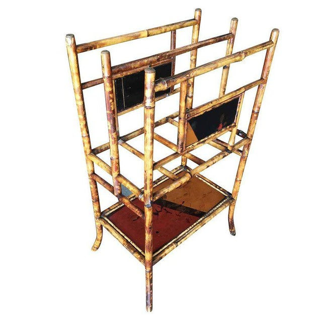 Large two-tier antique tiger bamboo magazine rack with divider and bottom shelf for larger books. Decorative hand-painted...