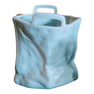 A Ceramic Crumpled Baby Blue Paper Shopping Bag Figurine Vase For Sale