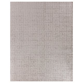 """Cergy Hand loom Wool/Viscose Silver Rug-10'x14"""" For Sale"""