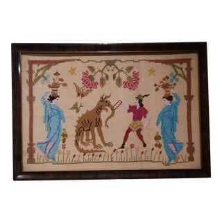 Vintage Needlepoint Chinese Dragon & Ladies Artwork For Sale