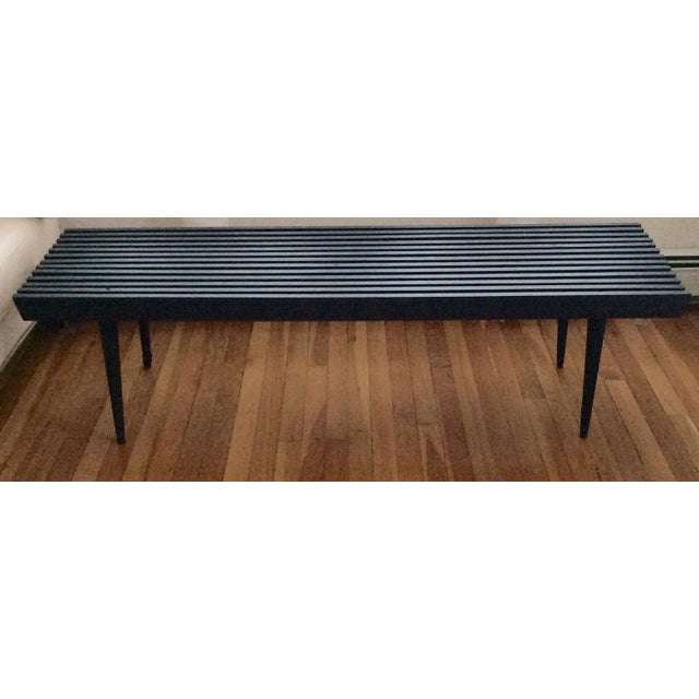 Mid-Century Modern Long Black Wooden Bench - Image 7 of 8