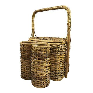 Wicker Picnic Basket with Bottle Carrier