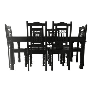 Rustic Black Solid Indian Rosewood Dining Set - Set of 7 For Sale