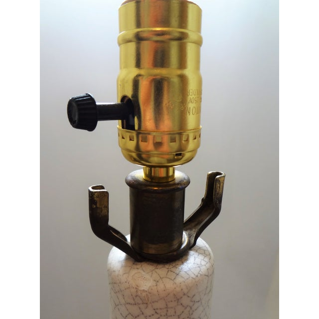 Brass Mid-Century Modern Tall Crackle Ceramic Table Lamp For Sale - Image 7 of 10