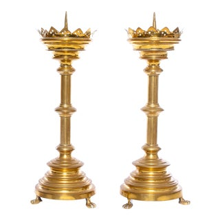 Brass Spindled Candle Pedestals - a Pair For Sale