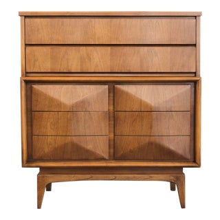 Mid-Century Modern United Furniture Diamond Front Walnut Highboy Dresser