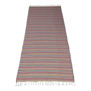 Flat Weave Wool Striped Pink Kilim Rug - 2'8'' x 7'6'' For Sale