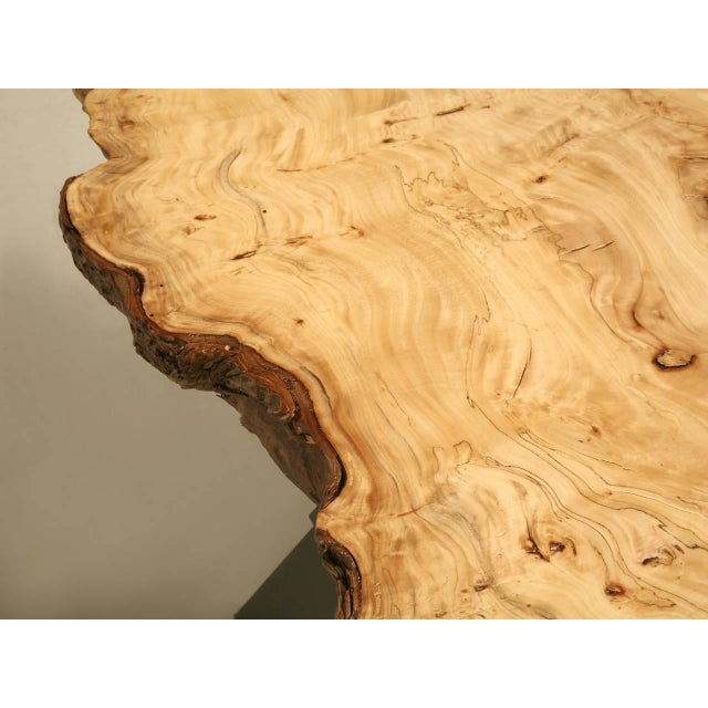 1970s French Burl Elm Slab Dining Table, or Desk For Sale - Image 5 of 11