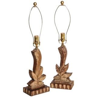 1940s Yasha Heifetz Hand-Carved Cerused Oak Botanical Bedside Lamps - a Pair For Sale