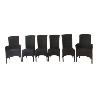 Crate and Barrell High Back Rattan Chairs - Set of 6