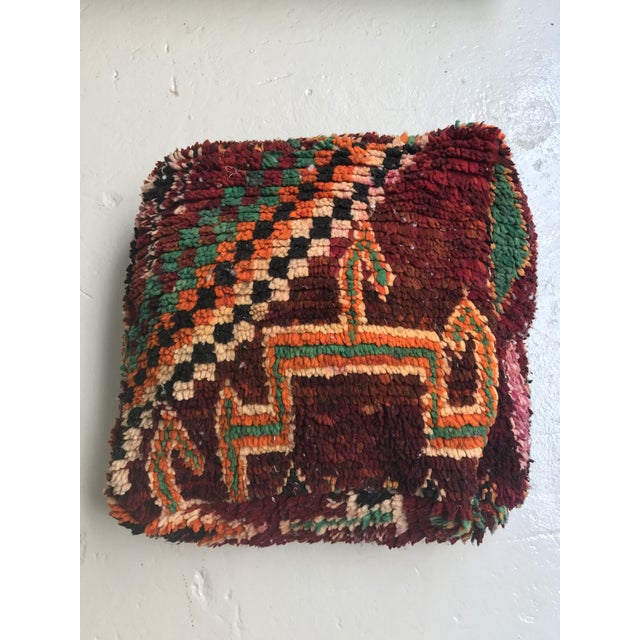Vintage Moroccan Wool Pouf - Image 2 of 10