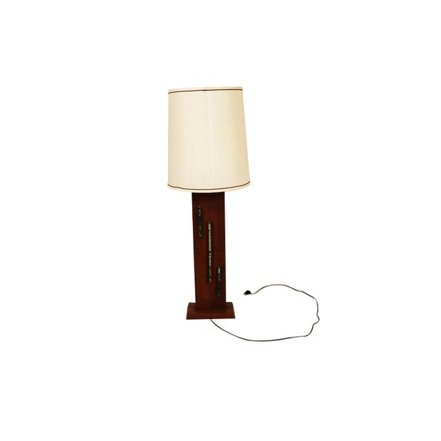 1960s Harris Strong Mid Century Wood Tile Lamp For Sale - Image 5 of 10