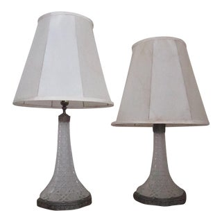 1970s Vintage Crystal Table Lamps With Shade - a Pair For Sale