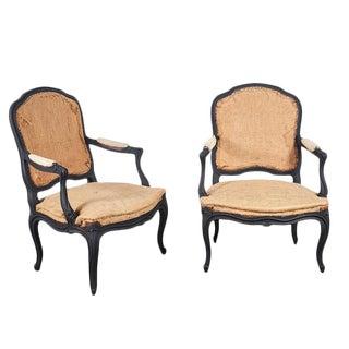 Louie XV Style Chairs in Matt Black - A Pair For Sale