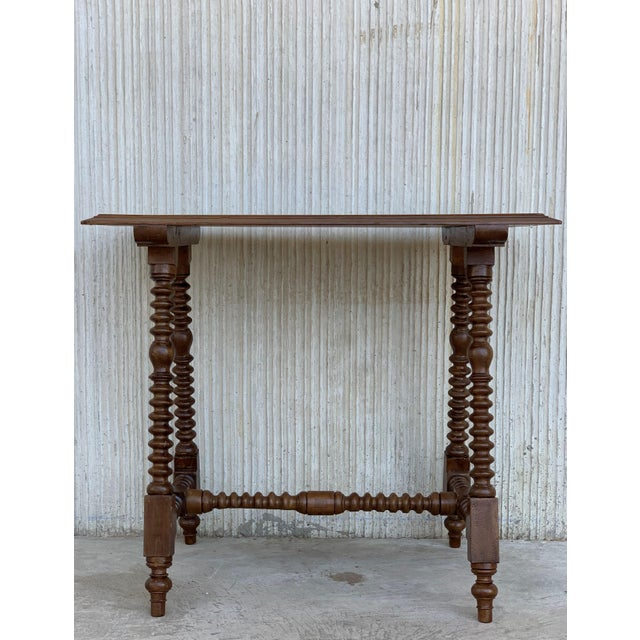 Spanish Baroque Side Table With Wood Stretcher and Carved Top in Walnut For Sale - Image 9 of 13