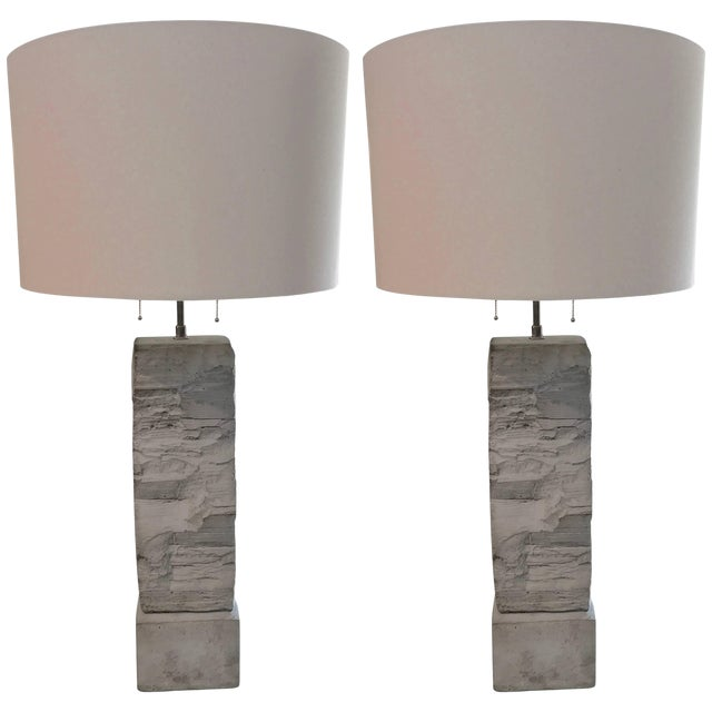Cast Stoneware Rock Shaped Lamps Marked AP - a Pair For Sale
