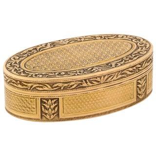 French Empire Oval Gold Snuff Box by h.a. Adam, Paris, Circa 1820 For Sale