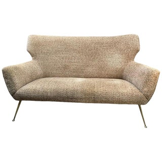 Mid-Century Loveseat With Original Fabric, Italy, 1950s For Sale
