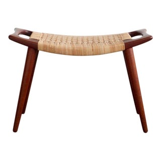 Hans Wegner Teak & Cane Stool For Sale