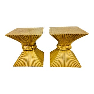 1980's Vintage McGuire Split Bamboo Side Tables– A Pair