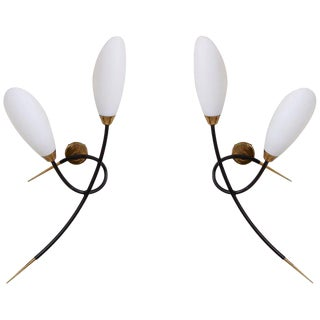 Pair of 1950s Wall Lamps by Maison Arlus For Sale