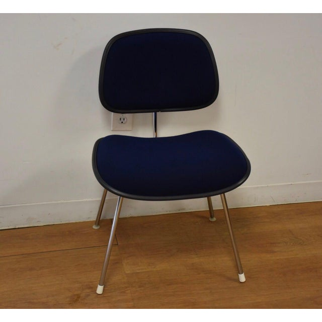 """A mid century modern DCM side or dining chair in a dark navy blue. Can be used as a desk chair. Seat height is 18"""". 20""""..."""