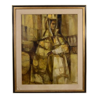 1965 Oil Painting by Michaud Female Form Abstract Gold For Sale