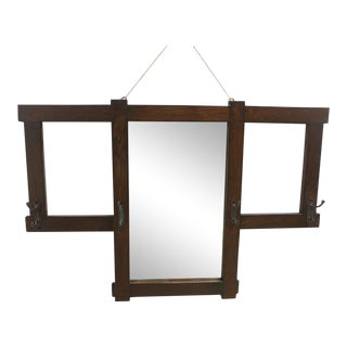 Antique Mission Oak Wall Mirror Clothes Rack For Sale