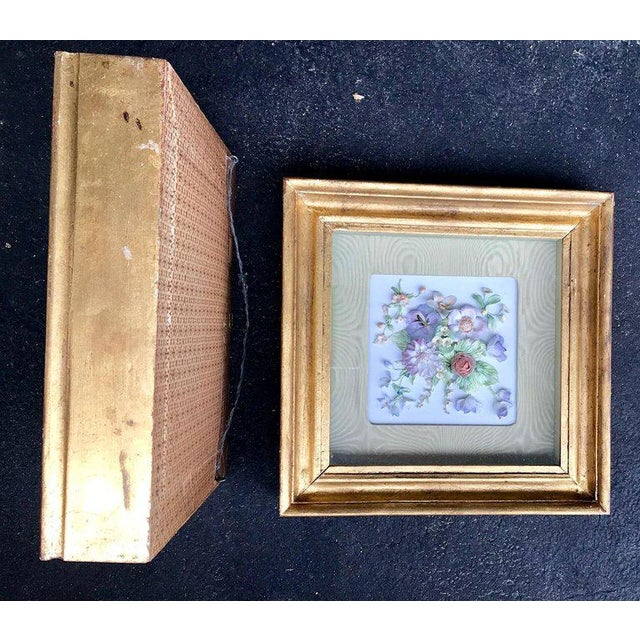 19th Century Bisque German Porcelain Floral Plaques in Shadow Boxes - a Pair For Sale - Image 10 of 12
