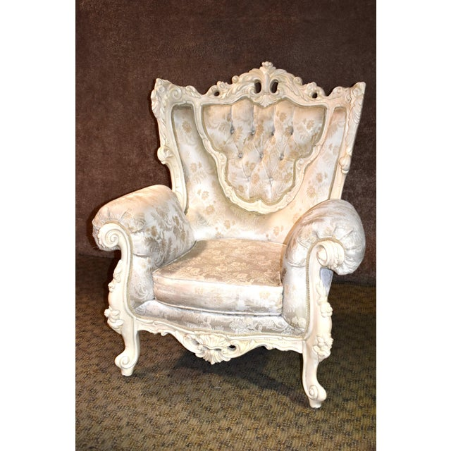 1980s Vintage Ornate Renaissance Style Sitting Chair For Sale - Image 4 of 13