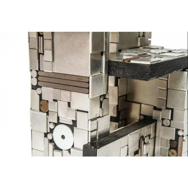 Aluminum Industrial Metal and Wood Tabletop Abstract Sculpture For Sale - Image 7 of 8