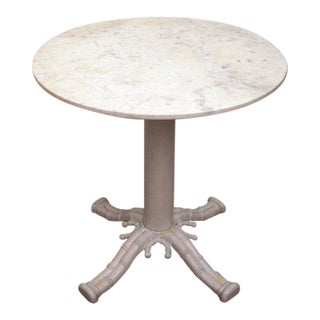 White Marble Faux Bamboo Bistro or Garden Table For Sale