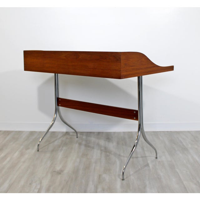 Brown Mid-Century Modern Early Production George Nelson Herman Miller Swag Leg Desk For Sale - Image 8 of 13