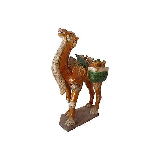 Asian Chinese Antique Tang Style Glazed Pottery Camel For Sale - Image 3 of 6