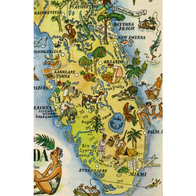 Bright and colorful vintage offset lithograph pictorial map of Florida from 1946. Not many historical and cultural sites...