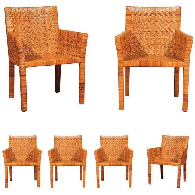 Terrific Restored Set of Six Cane Chairs in the Style of Jean-Michel Frank For Sale - Image 11 of 11