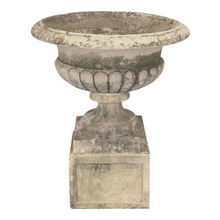 Large Round English Garden Stone Planter or Urn on Square Plinth For Sale