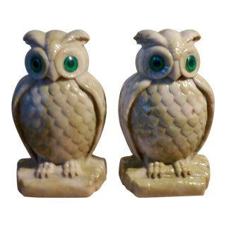 Vintage Resin Owl Book Ends - a Pair For Sale