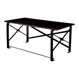 Industrial Chic Wrought Iron Designer Writing Table Desk - Faux Shagreen Top For Sale