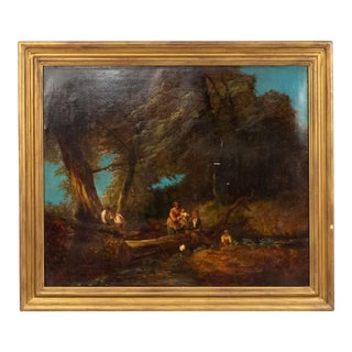 Oil Landscape of Figures in a Forest For Sale