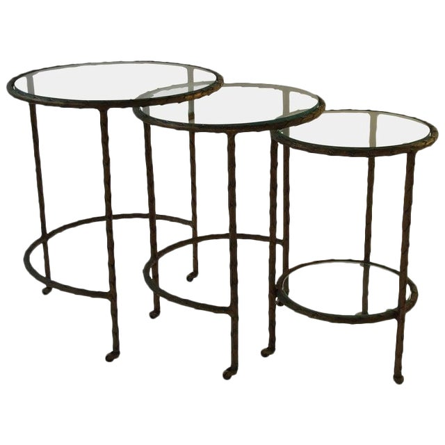 1950s Baguès Bronze Circular Nesting Tables For Sale