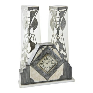 R. Ragu French Art Nouveau Clock and Vase Set - 3 Pc. For Sale