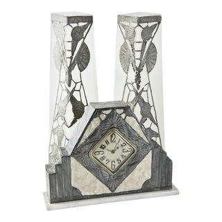 R. Ragu French Art Nouveau Clock and Vase Set - 3 Piece For Sale
