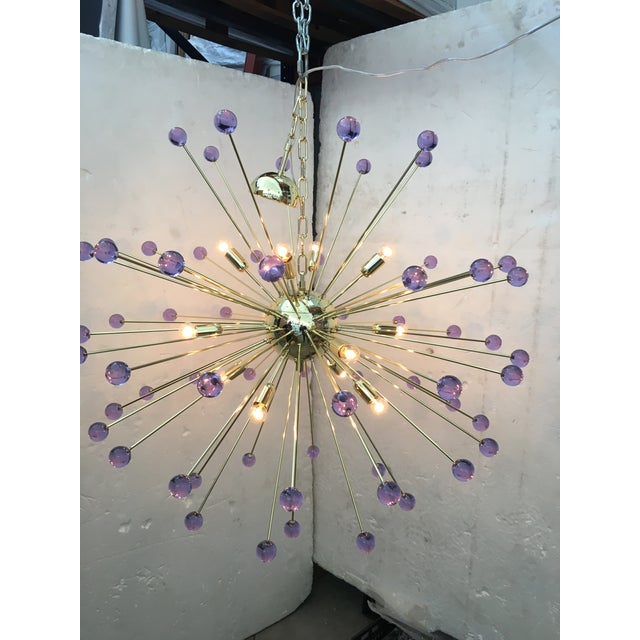 Murano Murano Glass Sputnik Metal Frame Gold Chandelier For Sale - Image 4 of 10