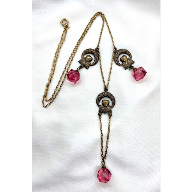 1920s Deco Era Brass and Pink Faceted Glass Necklace For Sale - Image 4 of 8
