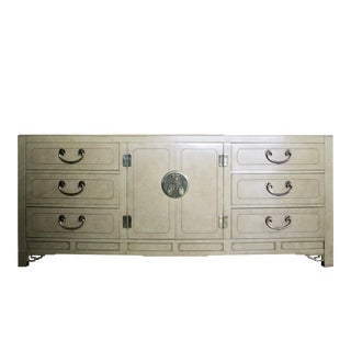 Faux Parchment Lacquered Chinoiserie Credenza For Sale