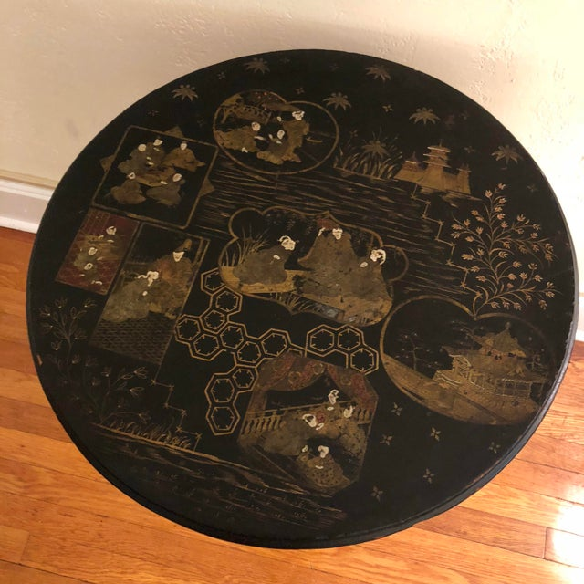 Antique Black Tilt Top Table With Painted Gold Chinoiserie Scene For Sale - Image 11 of 13